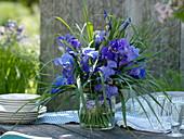 Strauß aus Iris barbata (Bart-Iris) und Miscanthus (Chinaschilf)