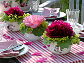 Table decoration with peonies