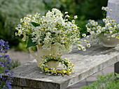 White-yellow early summer bouquet of Sambucus nigra and Matricaria