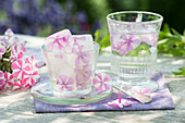 Flower ice cubes with edible flowers