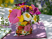 Small cottage garden bouquet of annual summer flowers