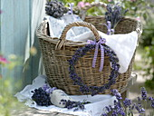 Lavender wreath on the laundry basket
