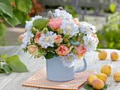 Bouquet made of roses, scabiosa (widow's flower), Nigella