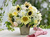 White-yellow bouquet from Helianthus annuus (sunflower), Dahlia
