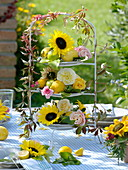 Sunflower table decoration in late summer