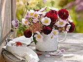 Autumn bouquet of Dahlia, Sedum and Anemone