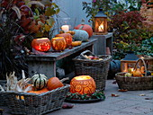 Autumn terrace with pumpkin decoration