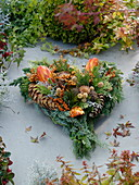 All Saints Heart made of mixed coniferous green, Buxus (Box)