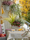 Autumn balcony with planted jardiniere made of metal