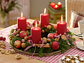 Natural Advent wreath of Abies with red candles