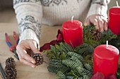 Mixed Advent wreath with red candles