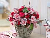 Winter bouquet of roses, Dianthus 'Arthur', Eucalyptus