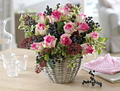 Winter bouquet with pink (rose), phoenix (black date)