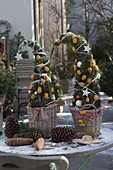 From conifer greenery set trees, decorated with kumquats