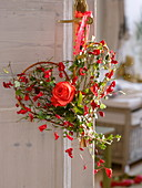 Wicker heart with red rose