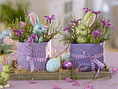 Easter eggs with Vaccinium (blueberry) branches