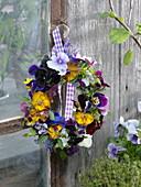 Wreath of Viola wittrockiana (Pansy) and Viola cornuta