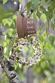 Wreath of Bellis perennis (Daisies) on Betula (birch)