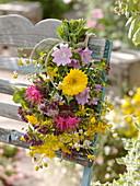 Small medicinal herb bouquet from malva, calendula