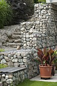 Gabions filled with coarse river gravel for slope support