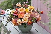 Bouquet with pink (rose), mint (Mentha), oregano (Origanum)
