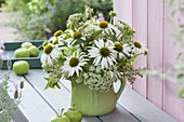 Green and white Echinacea purpurea 'White Swan' bouquet