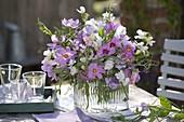 White rose bouquet with Cosmos and Lathyrus odoratus