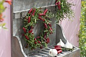 Herbs and chilli wreath
