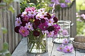 Roses, red summer bouquet of Dahlia and Cosmos