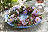 Asters and hawthorn wreath