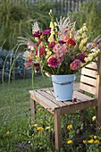 Autumnal bouquet of Gladiolus, Zinnia, Antirrhinum