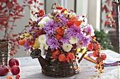 Autumn bouquet with chrysanthemum (autumn chrysanthemum), physalis