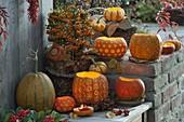 Arrangement of decorative carved pumpkins