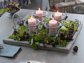 Natural candle deco or simple Advent wreath with 4 candle-glasses