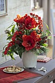 Red bouquet with Hippeastrum 'Red Lion', Euphorbia fulgens