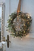 Wreath of branches of Olea (Olive) and Euphorbia spinosa