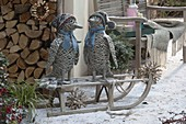 Gray rattan penguins with hats and scarves on sledges