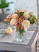 Bouquet with Rose 'Double Delight', Alstroemeria
