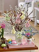 Bouquet of salix caprea twigs in enamel jug