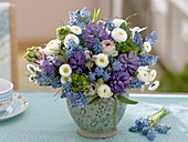 Blue-white bouquet from Hyacinthus, Muscari