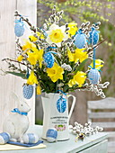 Easter bouquet in enamelled jug, Narcissus, branches of Sali