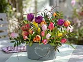 Bouquet of Tulipa (Tulip) with Salix erythroflexuosa