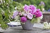 Paeonia and Sambucus nigra flowers bouquet