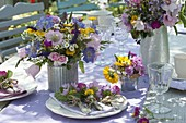 Summer table decoration with Rose, scabiosa, campanula