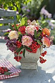 Late summer bouquet with pink (dwarf roses), Sorbus