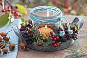 Wild fruits wreath as a candle wreath