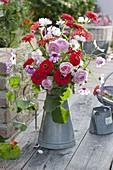 Zinc jug with Cosmos (Daisies), Rosa (Rose), Zinnia