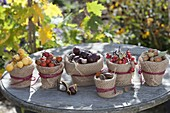 Autumn fruits in clay pots with plucking