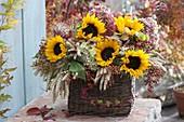 Thanksgiving basket with Helianthus (sunflower), wheat (Triticum)