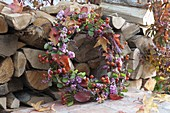 Autumn wreath of firewood Awakened by Rosa, Symphoricarpos